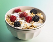 Muesli with fresh berries and yoghurt