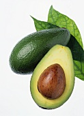 Avocado with stone and leaf
