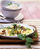 Chicken laksa with Thai basil (S. E. Asian soup)