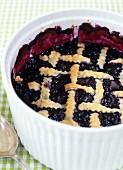 Blueberry pie with pastry lattice (USA)