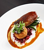 Roast duck breast with onion jam and fried parsnip cake