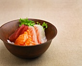 Sashimi: tuna, salmon and red snapper