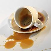 Spilt cup of espresso