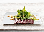 Reindeer fillet with green salad