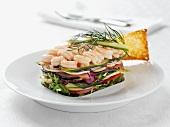 Shrimp and vegetable sandwich