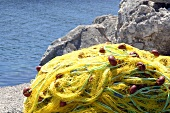 Yellow net with the sea in the background