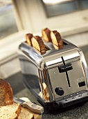 Slices of toast in toaster