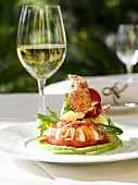 Lobster salad and a glass of white wine