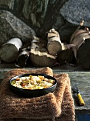 Chicken and vegetable stew, fireplace with firewood behind