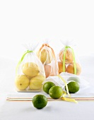 Citrus fruit in bags