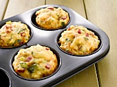 Vegetable muffins in a muffin tin