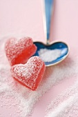Sugar-coated heart-shaped jelly sweets