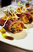 Seared tuna fillet with sesame seeds and mango salad