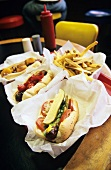 Assorted hot dogs in a restaurant