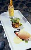 Florida stone crab claw, prawn cake and Oyster Shooter