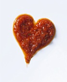 Tomato sauce forming a heart