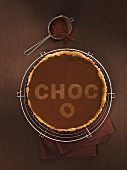 Chocolate tart with the word Choco
