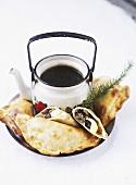 Empanadas and a pot of coffee