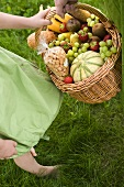 Picnic basket being carried