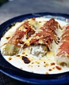 Artichoke gratin with ham