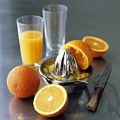 Oranges, citrus squeezer and freshly squeezed orange juice
