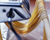 Homemade tagliatelle coming out of a pasta machine