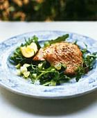 Fried salmon steak with rocket & cucumber salad and lemon