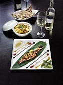 Stuffed king prawn, Indian rice, flatbread & wine