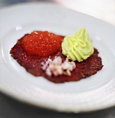 Beetroot & vegetable puree with trout caviar & avocado cream