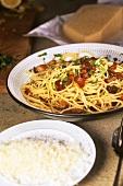 Spaghetti al vetturino (Spaghetti with bacon & Parmesan, Italy)