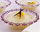 Tapioca pudding with peaches