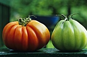 One red and one green tomato