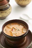 Red curry soup with coconut milk, chicken & oyster mushrooms