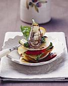 Insalata del contadino (Vegetable salad on round toast)