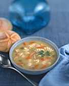 Chicken, noodle and carrot soup