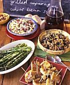 Summer buffet: asparagus, tortilla bites, mushrooms, beans