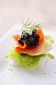 Salmon and caviar canapé