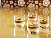 Peppermint-toffee dessert served in glasses