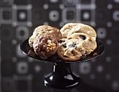 Chocolate nut cookies and liquorice nut cookies
