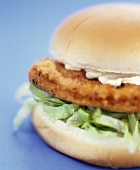Chicken burger with lettuce and mayonnaise