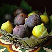 Fresh figs in a metal basket