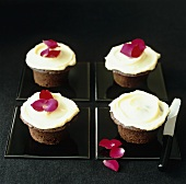 Chocolate cupcakes with rose petals