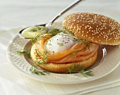 Smoked salmon and egg in bread roll