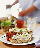 Spicy soft cheese spread on toast