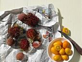 Lychees, Rambutan und Kumquats auf Thailändischer Zeitung