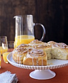 Cinnamon buns on cake stand