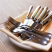 Knives and forks on a plate with fabric napkin