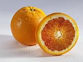 Whole and half blood orange