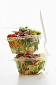 Mixed salad in two plastic containers