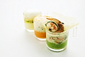 Three types of vegetable puree with freshwater crayfish